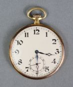 An 18ct. gold gent's open-face pocket watch, the off-white dial with Arabic numerals & subsidiary