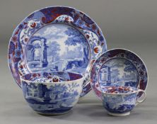 """An early 19th century Spode blue transfer """"Clobbered Italian Pattern"""" plate, with iron-red & gilt"""