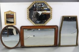 """A cottage overmantel mirror in inlaid-beech frame, 36"""" x 21½""""; together with five other mirrors."""