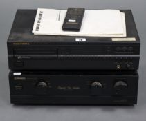 A Marantz CD player with remote control; & a Pioneer Integrated Stereo Amplifier, both w.o.
