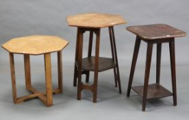 """An Edwardian oak occasional table with six-sided top, & on three shaped supports, 22½"""" wide x 27"""""""