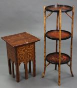 """A Chinese-style cane & lacquered jardinière stand of three circular tiers, 12¼"""" diameter x 36½"""""""