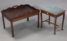 """An Edwardian beech box-seat piano stool, on square tapered legs with plain stretchers, 19"""" wide; & a"""