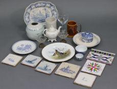 Seven various decorative pottery tiles; together with various other items of decorative pottery &