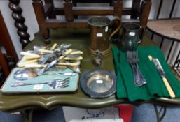 Two table lamps; two tankards; & various items of platedware & cutlery; together with various
