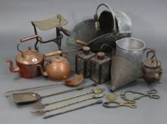 """A copper circular kettle with acorn finial & with overhang handle, 11½"""" high; a brass trivet; a"""