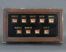 An early 20th century mahogany & verre eglomise electrically-operated servant's bell indicator