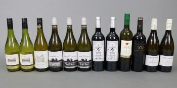 Three bottles of Nelson Split Rock white wine; together with nine various other bottles of wine, all