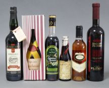 A bottle of Baglio Florio wine; a bottle of Marsala Perricone wine, both 75cl; & four various