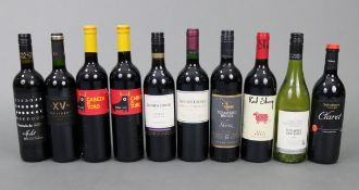 Two bottles of Jacobs Creek Shiraz red wine (vintage 2003 & 2009); together with eight various other