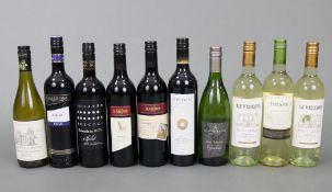 Two bottles of Hardy's Shiraz red wine; together with eight various other bottles of wine, all