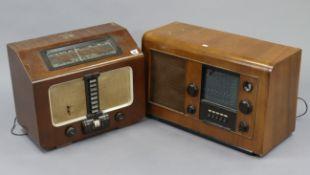 An HMV valve radio in mahogany case; & an Ekco valve radio in walnut case (Type A28).