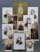 A quantity of assorted cabinet cards, carte-de-visite portrait studies, etc., loose & in one small