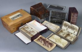 A quantity of assorted stereoview cards; together with a stereo-card viewer; & three stereo-card