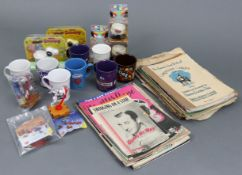 A small quantity of sheet music; together with various modern advertising mugs, etc.