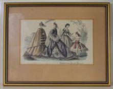 "Three mid-20th century French coloured fashion plates (Englishwoman's Domestic Magazine), 5"" x 8"","