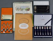 "Two sets of plated & enamelled souvenir teaspoons ""Animals of Australia""; & ""Australian Collectors"