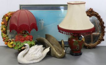 Two oval wall mirrors; two swan ornaments; two table lamps, each with shade; & a large coloured