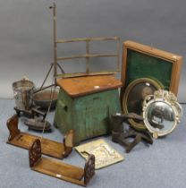 Two wooden adjustable book-troughs; two small wall mirrors; a shoe-shine box; & sundry other items.