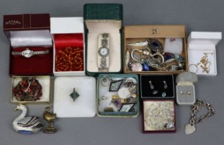 Three ladies' wristwatches; & a small quantity of costume jewellery.