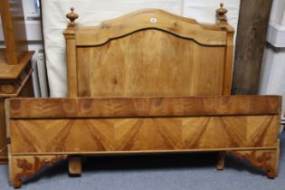 """A continental-style hardwood """"sleigh"""" bed with panelled head & footboard, 41½"""" wide, complete with"""