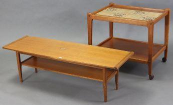 A BRDR FURBO (Danish) teak rectangular two-tier tea trolley inset tiles to the upper tier, & on