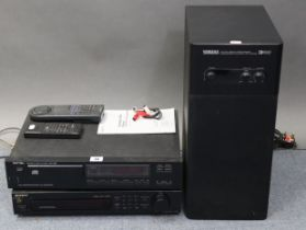 """A Rotel compact disc player with remote control; a Sony Digital radio receiver; & a Yamaha """"Active"""