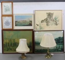 Various decorative pictures; & two brass table lamps.