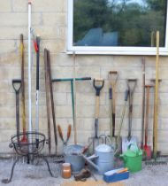 A Titan aluminium step ladder; together with two watering cans; & various garden tools & hand tools,