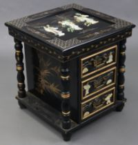 A Chinese-style black lacquered small three-drawer chest with figure-scene decoration to the top &