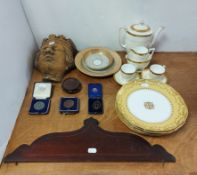 """A 19th century inlaid-mahogany oval two-handled tea-tray, 24½"""" x 16"""" (w.a.f.); & a Minton's seven"""