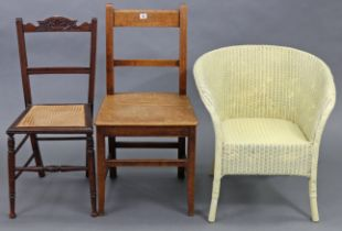 An oak rail-back cottage dining chair, with hard seat & on square tapered legs with plain