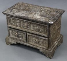 """A ditto low chest fitted one long & two short drawers, 23"""" wide x 16½"""" high x 13¾"""" deep."""