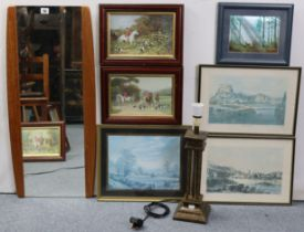 """A teak frame rectangular wall mirror, 31"""" x 14""""; together with thirteen various decorative pictures;"""