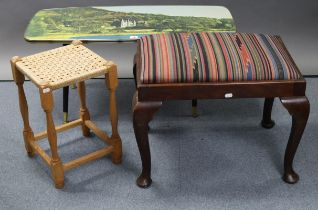"""A retro-style rectangular low coffee table, 35½"""" wide x 16"""" high; together with two stools."""