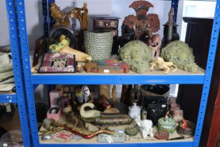 Various items of decorative china, pottery, treenware, etc.