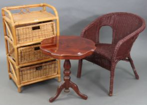 """A cane & wicker three-drawer bedside chest, 19½"""" wide x 32½"""" high; together with a wicker chair; a"""