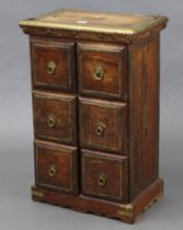 An eastern-style brass-mounted hardwood small upright chest fitted two ranks of three long drawers