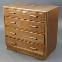 """A small oak chest fitted four long graduated drawers with block handles, & on plinth base, 32"""""""