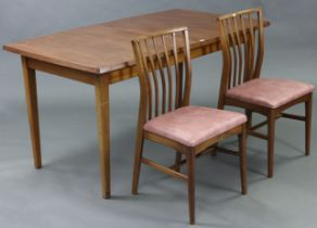 A Younger's rectangular extending dining table with centre leaf, & on four square tapered legs,