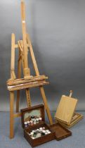 "A Mabef beech artist's fold-away studio easel, 75½"" high; an artist's paintbox/easel; & various"