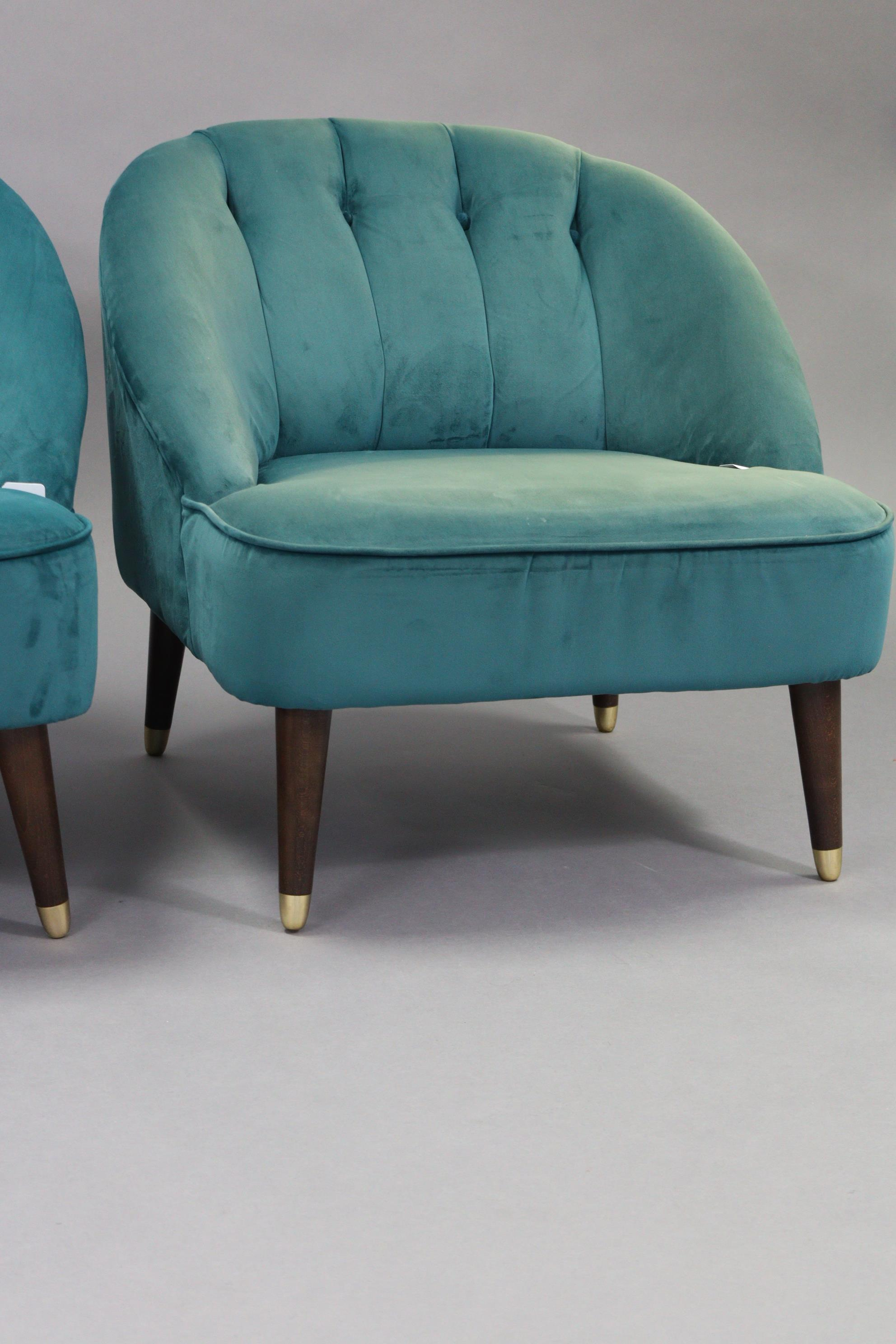 A pair of tub-shaped easy chairs each with buttoned back & sprung seat upholstered turquoise velour, - Image 4 of 11
