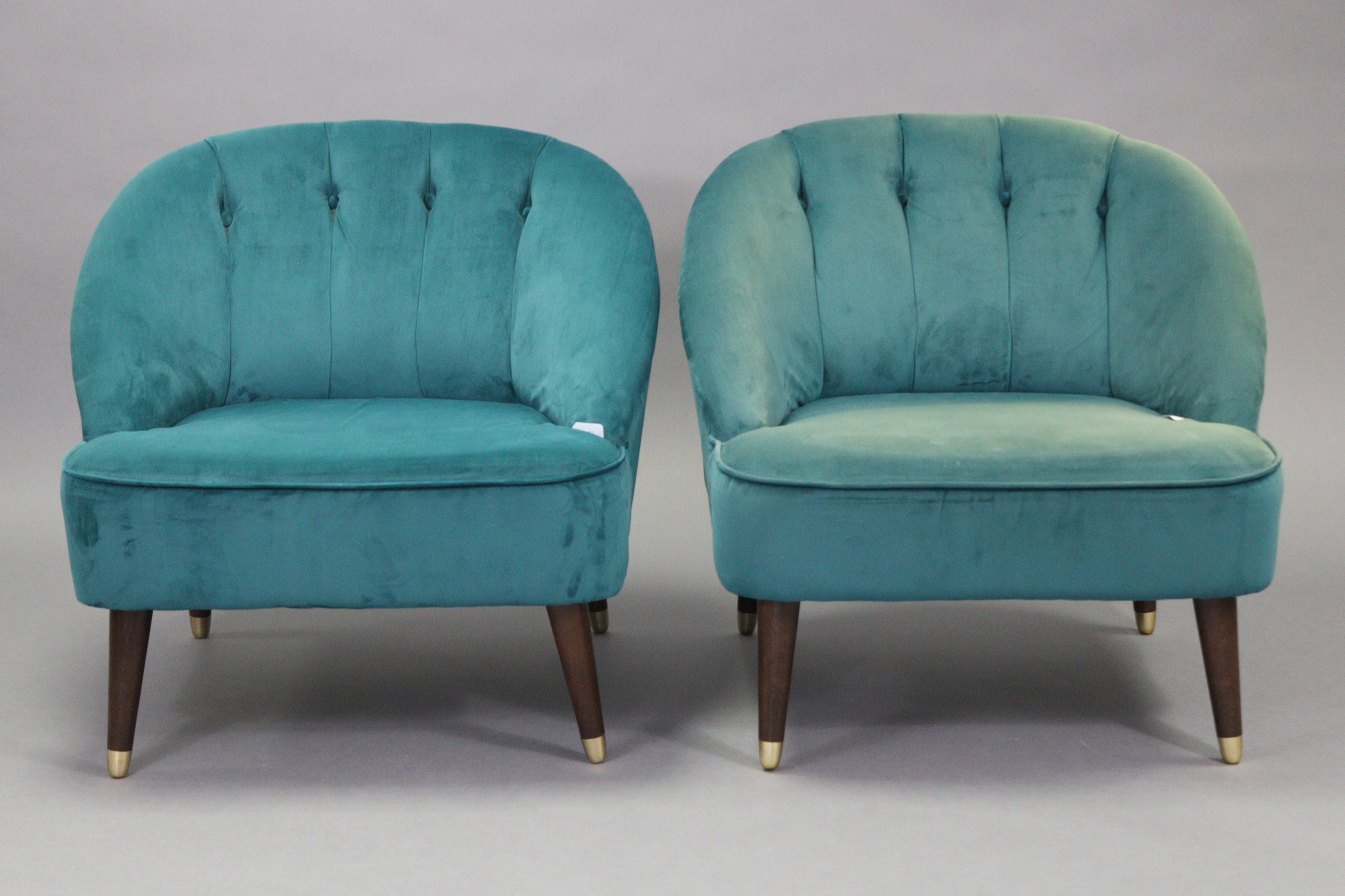 A pair of tub-shaped easy chairs each with buttoned back & sprung seat upholstered turquoise velour, - Image 2 of 11