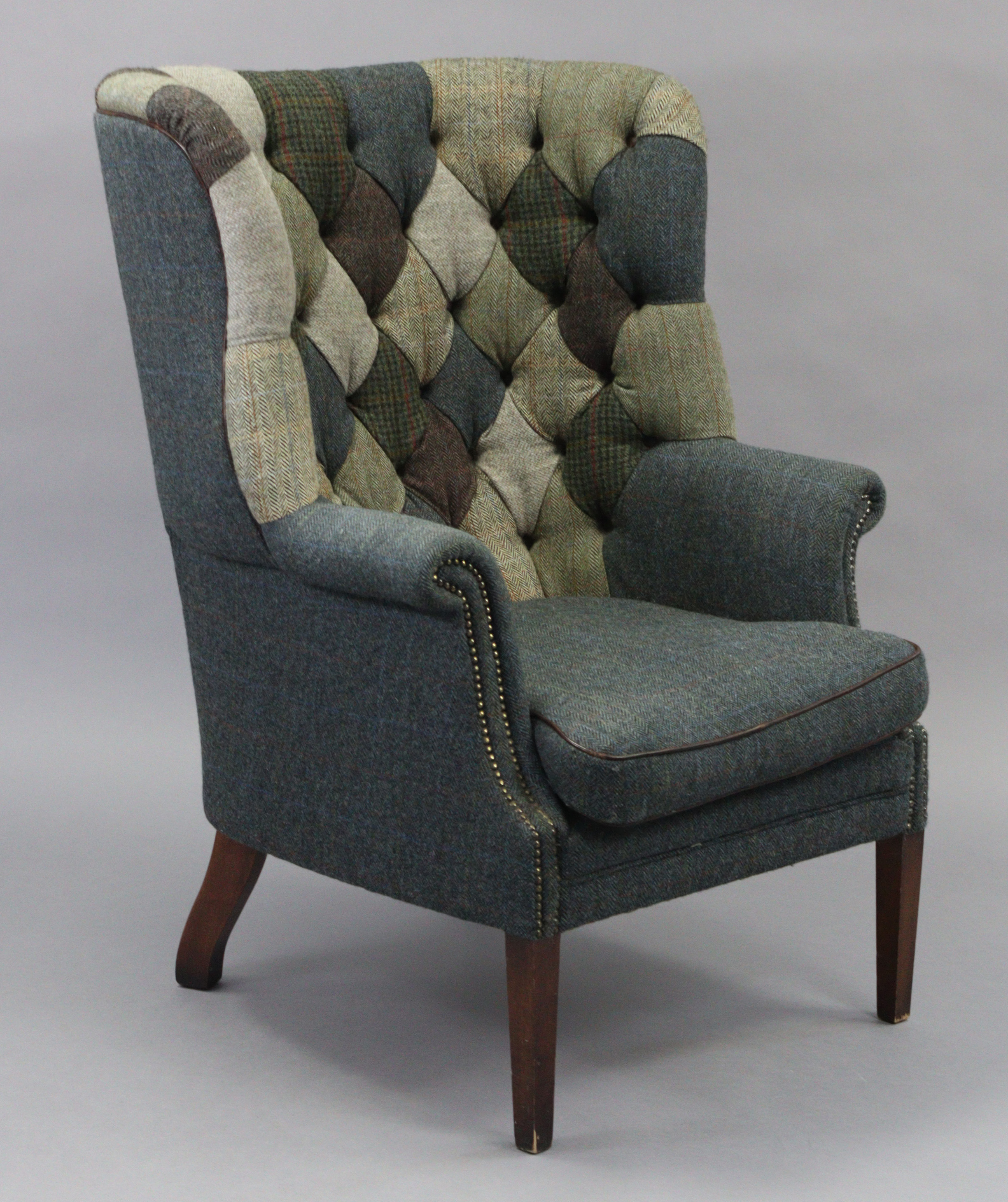 A Tetrad Harris Tweed Mackenzie buttoned-back armchair upholstered multi-coloured material, & on - Image 2 of 4