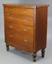 A late Victorian walnut chest fitted two short & three long graduated drawers, with shaped