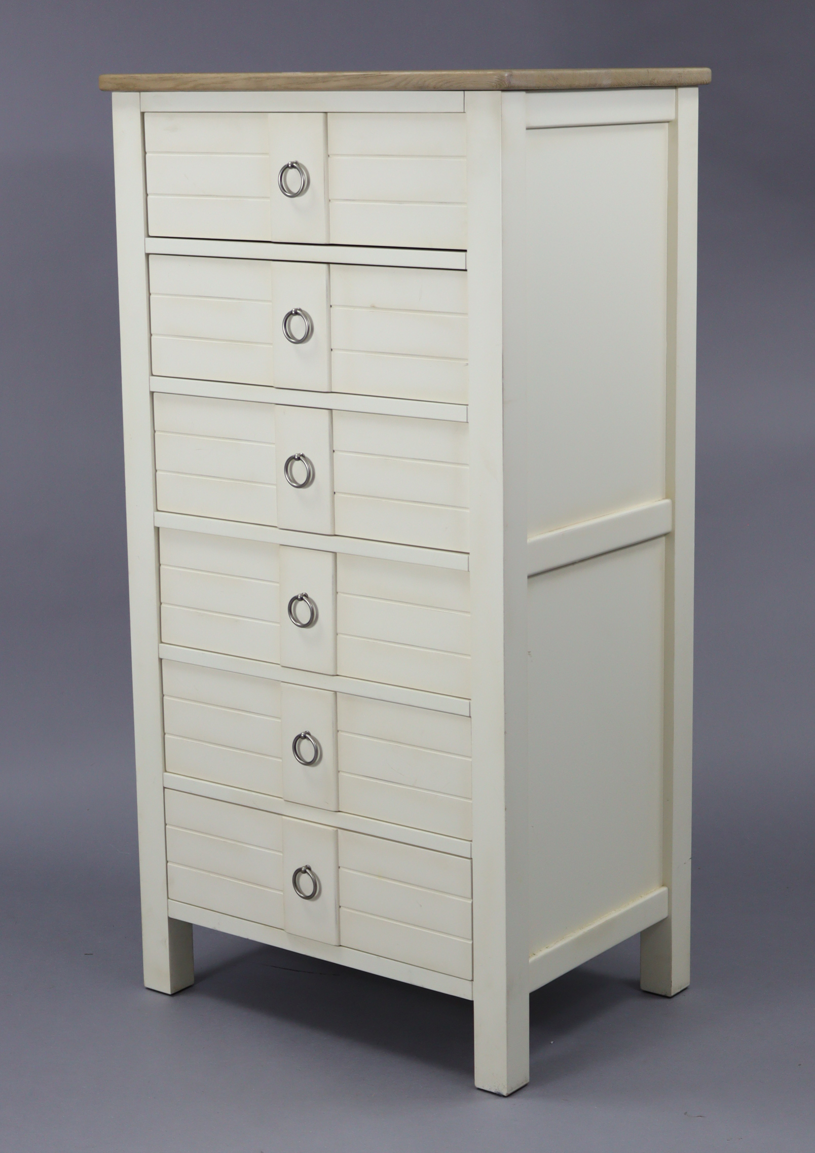 """A modern upright white-finish chest fitted six long drawers & with natural oak top, 25½"""" wide x 49½"""""""