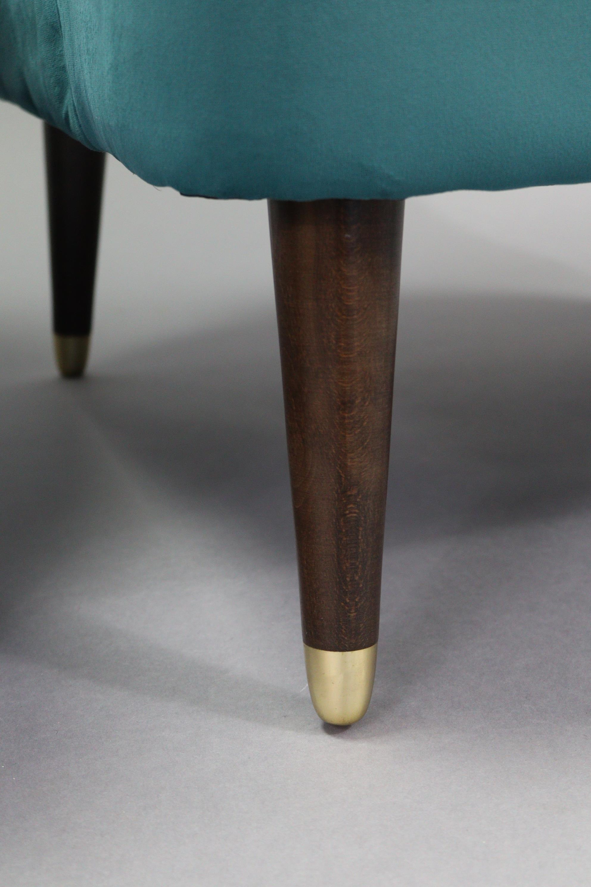 A pair of tub-shaped easy chairs each with buttoned back & sprung seat upholstered turquoise velour, - Image 5 of 11