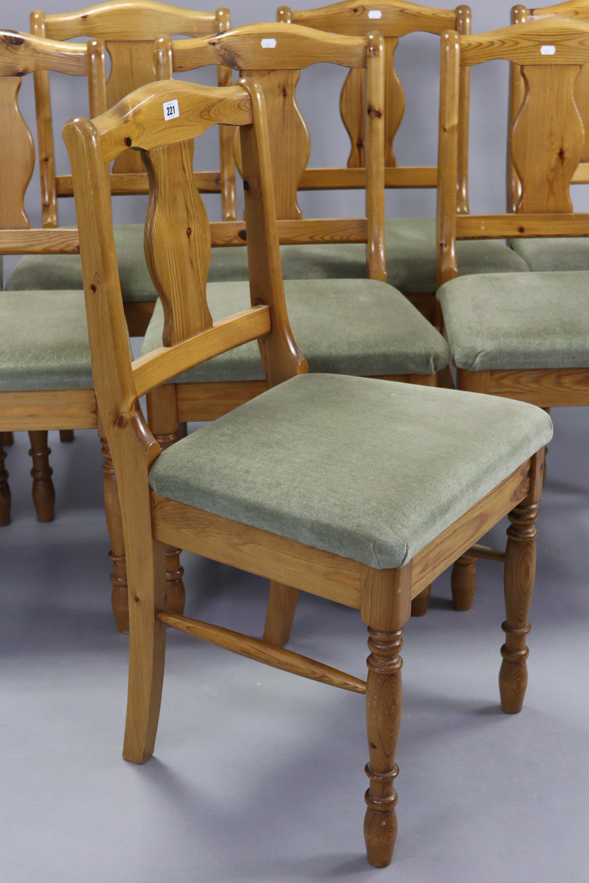 A set of eight Ducal pine splat-back dining chairs with padded seats, & on turned legs with - Image 2 of 3