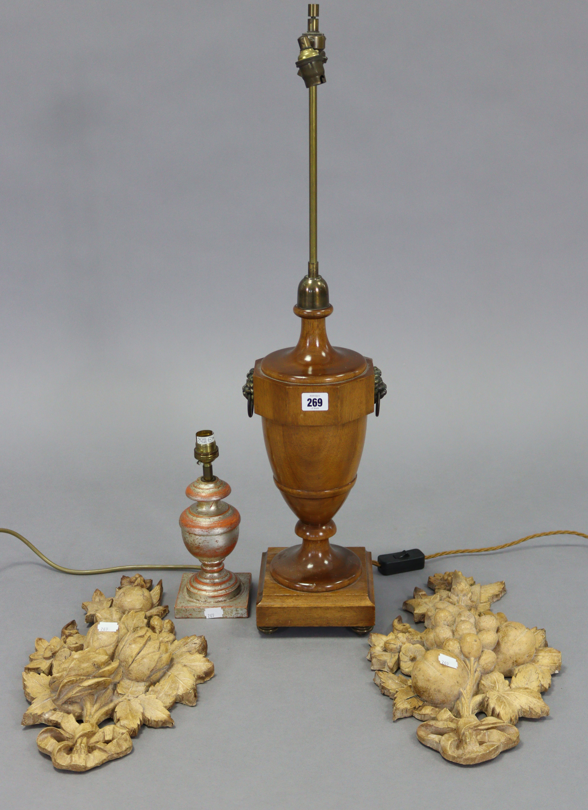 """A treen table lamp with vase-turned centre column, & on a square plinth, 30½"""" high; a composition - Image 2 of 4"""