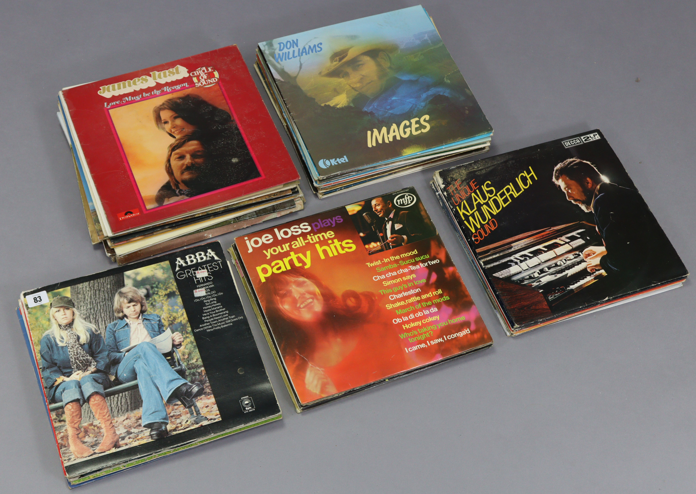 A collection of various records.